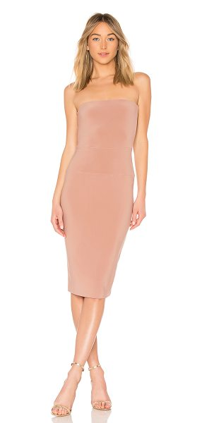 "Norma Kamali x REVOLVE Strapless Dress in blush - ""95% poly 5% spandex. Unlined. Elasticized neckline...."