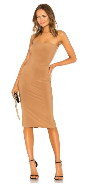 """Norma Kamali x REVOLVE Strapless Dress in brown - """"95% poly 5% spandex. Unlined. Non-slip silicone lined..."""