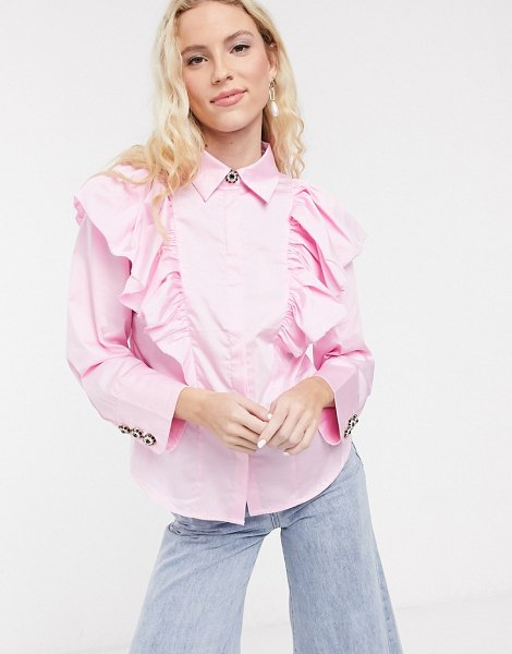 Notes Du Nord oakley ruffle shirt in soft pink in pink