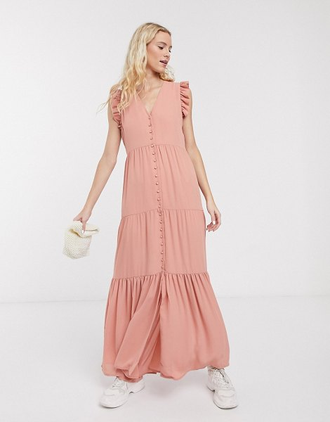 Notes Du Nord orchid recycled polyester maxi dress with button front and frill sleeve in pink in pink