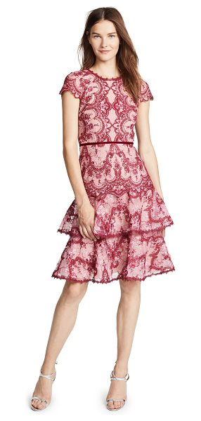 Notte by Marchesa cap sleeve cocktail dress in pink - Fabric: Lace / mesh Velvet trim Tiered skirt Midi length...