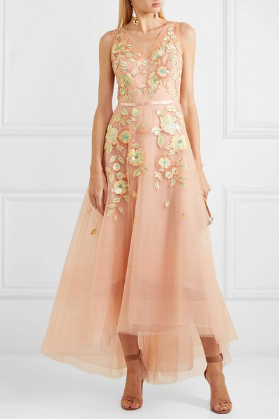 Notte by Marchesa embellished embroidered tulle gown in blush