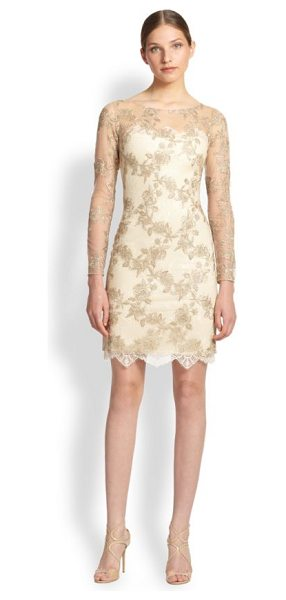 Notte by Marchesa Embroidered illusion dress in gold - A positively stunning cocktail dress featuring gorgeous...