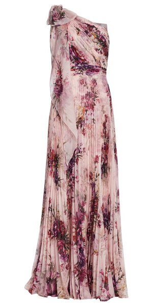 Notte by Marchesa floral asymetrical pleated gown in blush