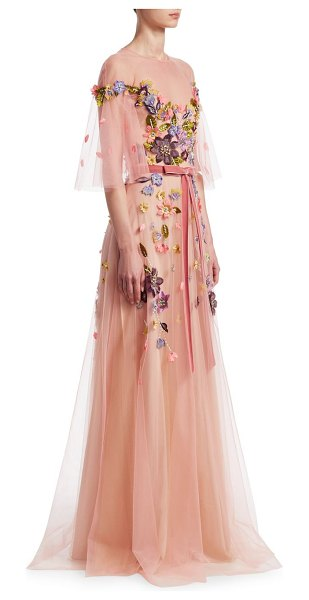 Notte by Marchesa floral belted gown in pale coral - Charming flutter sleeve gown adorned with floral...