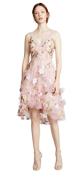 Notte by Marchesa floral embroidered cocktail dress in blush - Fabric: Mesh / lace Floral embroidery Floral appliqués...