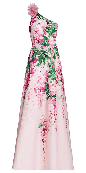 Notte by Marchesa floral ruffle one-shoulder gown in blush