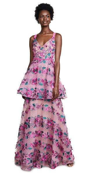 NOTTE BY MARCHESA fringe floral tiered gown in pink - Fabric: Swiss-dot mesh Floral embroidery Fringed trim...