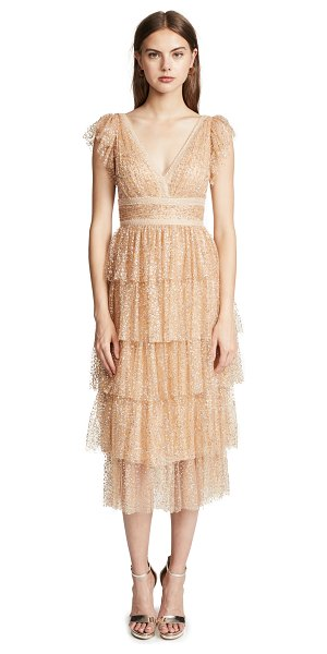Notte by Marchesa flutter sleeve cocktail dress in champagne - Fabric: Glitter tulle Lace trim Tiered skirt A-line...