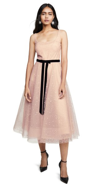 Notte by Marchesa glitter tulle tea length gown in blush