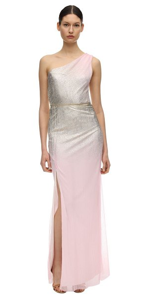 Notte by Marchesa Gradient foiled one shoulder gown in pink,gold