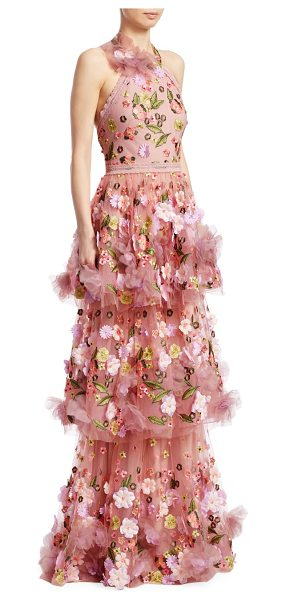 Notte by Marchesa halter tiered floral gown in blush - Eye-catching gown with tiered ruffle skirt and floral...