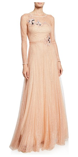 Notte by Marchesa Long-Sleeve Glitter Tulle Gown with Beaded Floral Appliques & Bow in rose gold