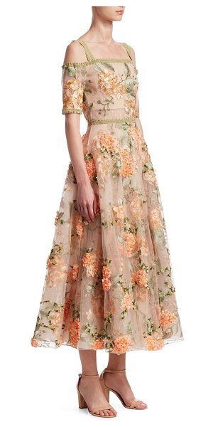 NOTTE BY MARCHESA off-the-shoulder embroidered floral gown in nude - Shoulder-baring dress with allover floral design....