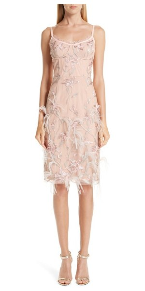 Notte by Marchesa ostrich feather trim embroidered corset dress in pink - Delicately pretty details like fluttery eyelash lace,...