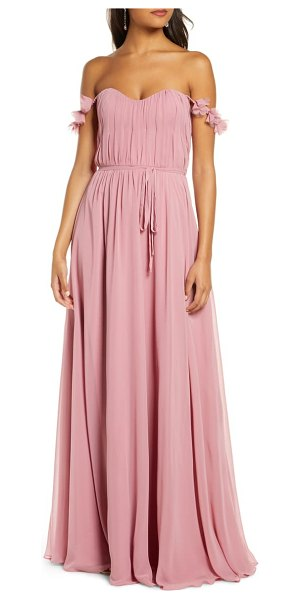 Notte by Marchesa petal strap chiffon gown in pink