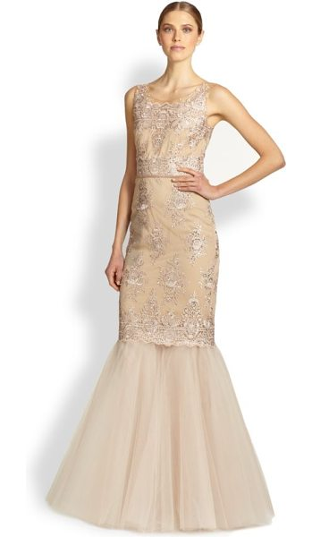Notte by Marchesa Re-embroidered lace & tulle mermaid gown in rosegold - A romantic style for evening in beautifully...