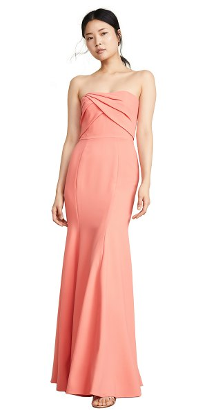 Notte by Marchesa sleeveless draped bodice gown in coral