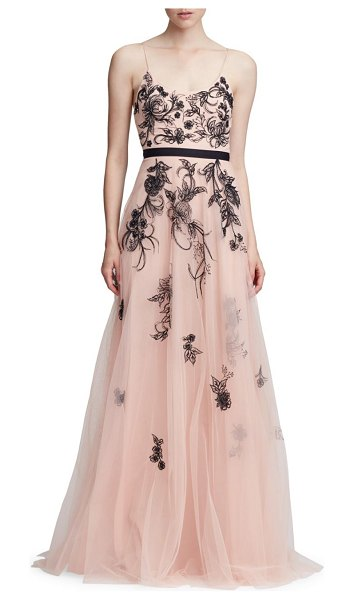 Notte by Marchesa sleeveless metallic floral beaded tulle a-line gown in blush - Dramatic cape overlay lends romance to this beaded...