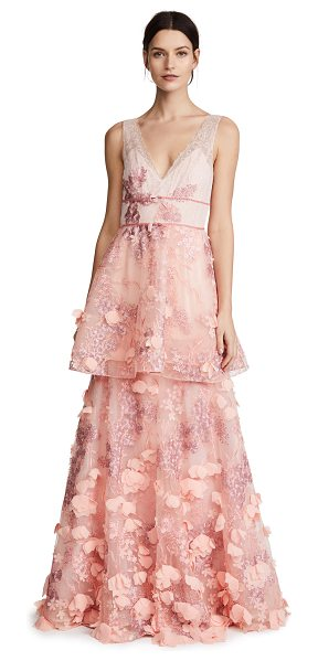 Notte by Marchesa sleeveless two tiered gown in blush - Fabric: Lace Chiffon petal appliqués Maxi dress cut V...
