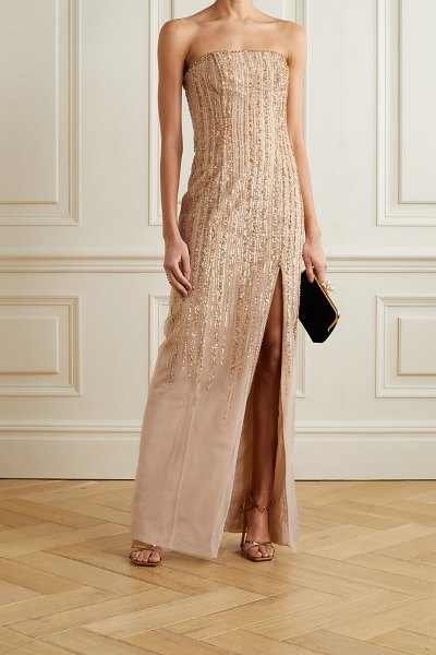 Notte by Marchesa strapless embellished tulle gown in sand