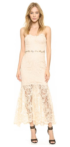 Notte by Marchesa Strapless lace gown in blush - This elegant Notte by Marchesa gown is crafted in...