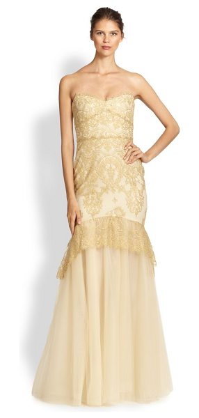 Notte by Marchesa Strapless metallic lace gown in gold - This flattering mermaid silhouette is crafted from airy...