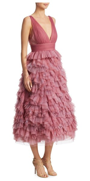 Notte by Marchesa tulle tiered gown in lilac pink - Beautiful tiered gown with a tulle bodice. Deep V-neck....