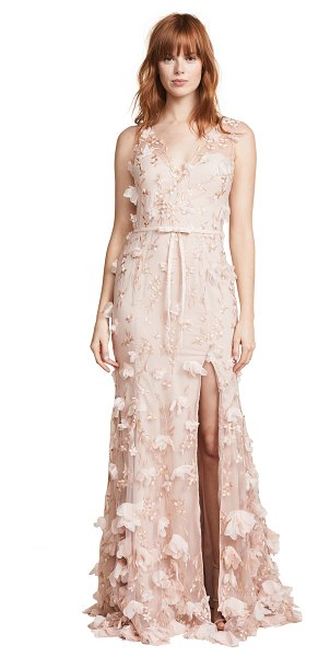 Notte by Marchesa v neck 3d floral dress in blush - Fabric: Mesh 3D Flowers Maxi length V neck Sleeveless...