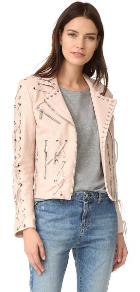 Nour Hammour wilshire motorcycle jacket with studs in ice pink - Whipstitched trim adds modern edge to this soft leather...