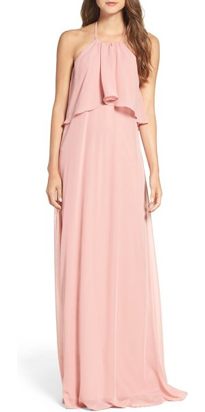 nouvelle AMSALE 'cait' chiffon halter gown in petal - Flowing swaths of fabric overlay the cutaway bodice to...