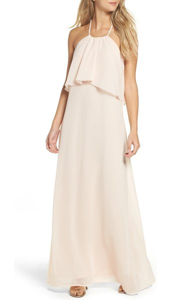 nouvelle AMSALE 'cait' chiffon halter gown in nude - Flowing swaths of fabric overlay the cutaway bodice to...