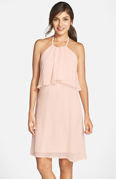 NOUVELLE AMSALE 'suki' chiffon halter dress - A rippling bodice overlay adds trend-right popover style...