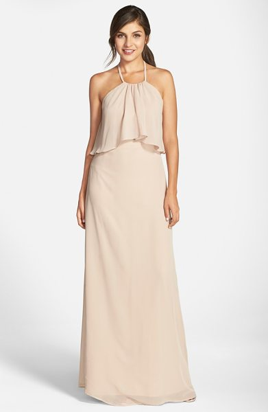 nouvelle AMSALE 'cait' chiffon halter gown in sand - Flowing swaths of fabric overlay the cutaway bodice to...