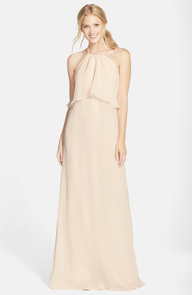 nouvelle AMSALE 'cait' chiffon halter gown in cream - Flowing swaths of fabric overlay the cutaway bodice to...