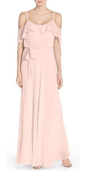 NOUVELLE AMSALE cold shoulder a-line chiffon gown - Timeless and romantic, a floaty chiffon gown enchants...