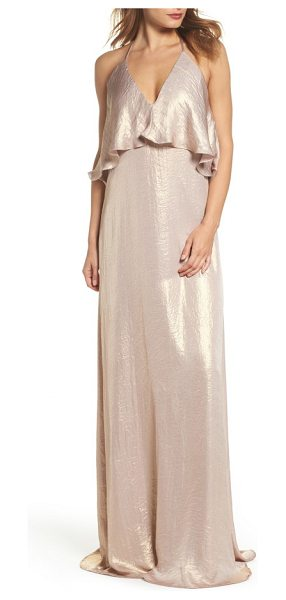 nouvelle AMSALE crushed satin popover halter gown in rose gold - A fluttery popover bodice with halter styling tops a...