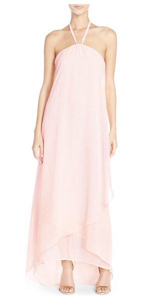 nouvelle AMSALE 'dakota' high/low chiffon halter gown in peony - Slender halter straps showcase lovely shoulders atop a...
