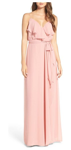 nouvelle AMSALE drew ruffle front chiffon gown in petal - Soft and romantic, this blush-hued gown in silky chiffon...