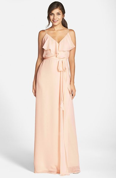 nouvelle AMSALE 'drew' ruffle front chiffon gown in cream - Soft and romantic, this blush-hued gown in silky chiffon...