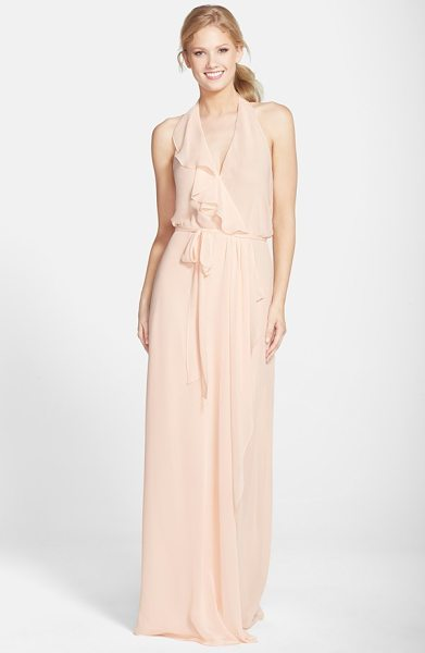 nouvelle AMSALE 'erica' ruffle chiffon halter neck wrap gown in nude - A cascading ruffle emphasizes the flattering wrapped...