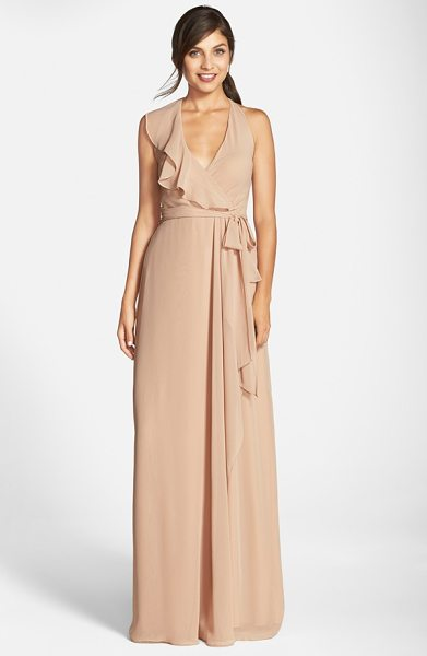 nouvelle AMSALE 'erica' ruffle chiffon halter neck wrap gown in sand - A cascading ruffle emphasizes the flattering wrapped...