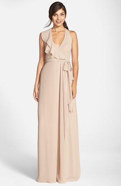 NOUVELLE AMSALE long chiffon wrap dress - A cascading ruffle emphasizes the flattering wrapped...
