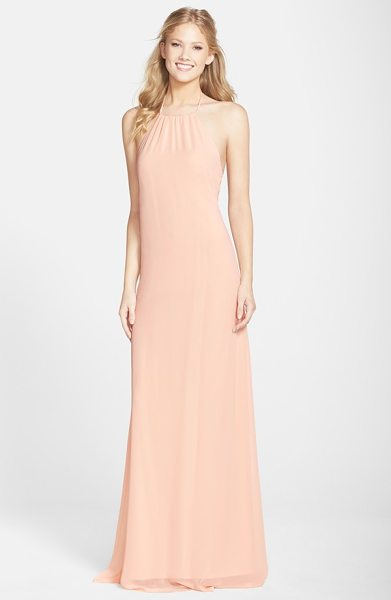 nouvelle AMSALE 'jordan' open back chiffon halter gown in nude - Simple and sultry, this A-line gown tethered to halter...