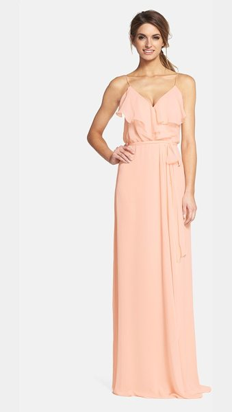 nouvelle AMSALE 'drew' ruffle front chiffon gown in nude - Soft and romantic, this blush-hued gown in silky chiffon...
