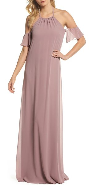 nouvelle AMSALE ruffle sleeve halter gown in mauve - Floating down from a classic halter neckline, an airy...