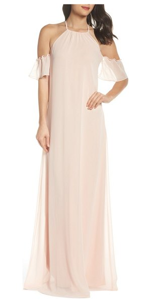 nouvelle AMSALE ruffle sleeve halter gown in blush - Floating down from a classic halter neckline, an airy...