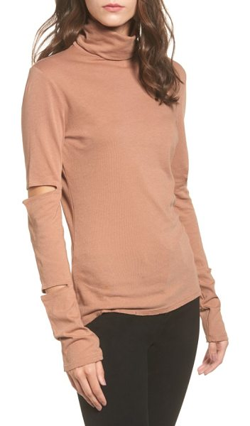 n:PHILANTHROPY easton cutout turtleneck in nude - Cutouts on the extra-long, slouchy sleeves add edgy...