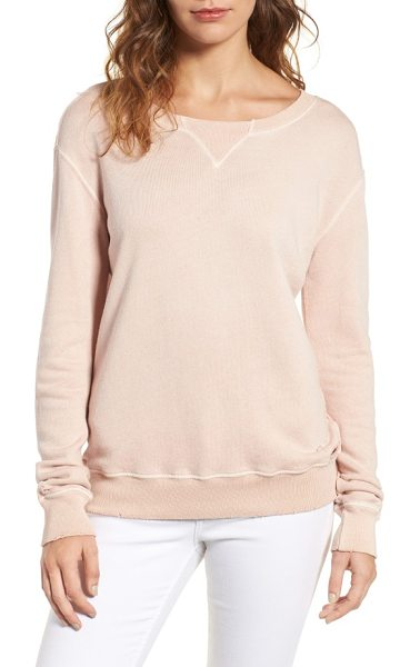 n:PHILANTHROPY joni distressed sweatshirt in rose - Distressed edges and ragged holes age this slouchy...
