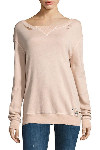 n:PHILANTHROPY joni sweatshirt in rose - Hand cut holes complete this relaxed essential. Ribbed...